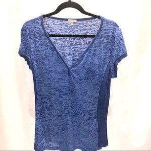 Maurices blue burnout V-neck short sleeve T-shirt
